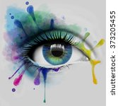 colorful eye with ink splatters ... | Shutterstock . vector #373205455
