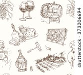 wine set seamless pattern.... | Shutterstock .eps vector #373206694