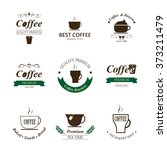 set of coffee label and... | Shutterstock .eps vector #373211479