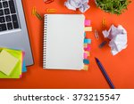 office table desk with set of... | Shutterstock . vector #373215547