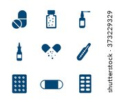 solid set flat medical pills ... | Shutterstock .eps vector #373229329