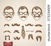 hipster style faces and... | Shutterstock .eps vector #373234009
