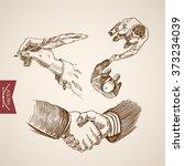 businessman handshake contract...   Shutterstock .eps vector #373234039