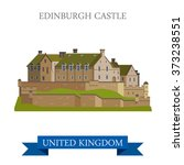 edinburgh castle in scotland ... | Shutterstock .eps vector #373238551