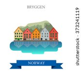 bryggen in norway. flat cartoon ... | Shutterstock .eps vector #373241119