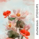 water lilies and poppies  ...   Shutterstock . vector #373241491