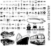 Transport Set Of Black Sketch....