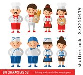 set of characters in a flat... | Shutterstock .eps vector #373250419