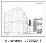 perspective 3d wireframe of... | Shutterstock .eps vector #373252045