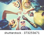 beach cheers celebration... | Shutterstock . vector #373253671