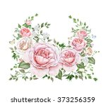 watercolor floral wreath with... | Shutterstock . vector #373256359