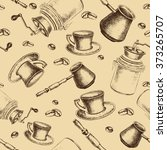 seamless coffee pattern. sketch ... | Shutterstock .eps vector #373265707