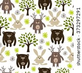 forest animals. seamless... | Shutterstock .eps vector #373297291