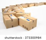 cardboard boxes package parcels ... | Shutterstock . vector #373300984
