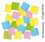 colorful sticky notes on white... | Shutterstock .eps vector #373307959