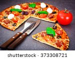 pepperoni pizza with sausage ... | Shutterstock . vector #373308721