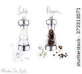 watercolor food clipart   salt... | Shutterstock . vector #373313071