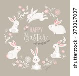 Stock vector easter design with cute banny and text hand drawn illustration 373317037