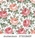 roses. seamless classic pattern.... | Shutterstock .eps vector #373318609