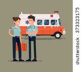 vector paramedic characters... | Shutterstock .eps vector #373323175
