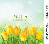 spring background   with yellow ... | Shutterstock .eps vector #373327444