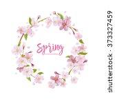 cherry blossom spring... | Shutterstock .eps vector #373327459