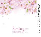 cherry blossom spring... | Shutterstock .eps vector #373327465