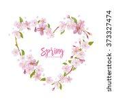 cherry blossom spring... | Shutterstock .eps vector #373327474