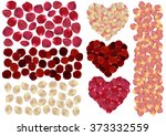 Stock vector illustration of rose petals in various colors isolated 373332559