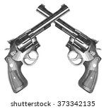crossed pistols engraved style... | Shutterstock .eps vector #373342135