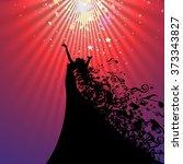 silhouette of opera singer and... | Shutterstock .eps vector #373343827