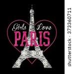 romantic paris graphic for t... | Shutterstock . vector #373360711