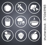 fruits and vegetables on grey... | Shutterstock .eps vector #373365985