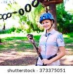 adventure climbing high wire... | Shutterstock . vector #373375051