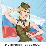 sexy girl in military uniform...   Shutterstock .eps vector #373388029