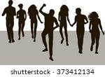 silhouette people run | Shutterstock .eps vector #373412134