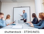 team meeting. discussion of... | Shutterstock . vector #373414651