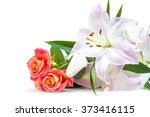 White Pink Lilies And Three Re...