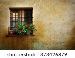 window at the pienza city wall  ... | Shutterstock . vector #373426879