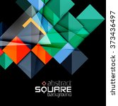 glossy color squares on black.... | Shutterstock .eps vector #373436497