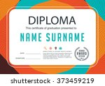 preschool kids diploma... | Shutterstock .eps vector #373459219