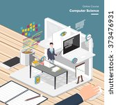vector e learning concept in... | Shutterstock .eps vector #373476931
