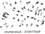 Stock photo crowd of people blurred on white background from top view bird eye view 373477039