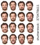 short curly hair and beard... | Shutterstock . vector #373478611