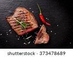 grilled beef steak with...   Shutterstock . vector #373478689