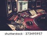 Close-up of boutique recording studio control desk. - stock photo