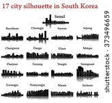 set of 17 city silhouette in