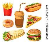 set of fast food and beverages... | Shutterstock .eps vector #373497595