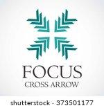 focus cross of arrows center... | Shutterstock .eps vector #373501177