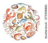 watercolor set of seafood from... | Shutterstock . vector #373508881